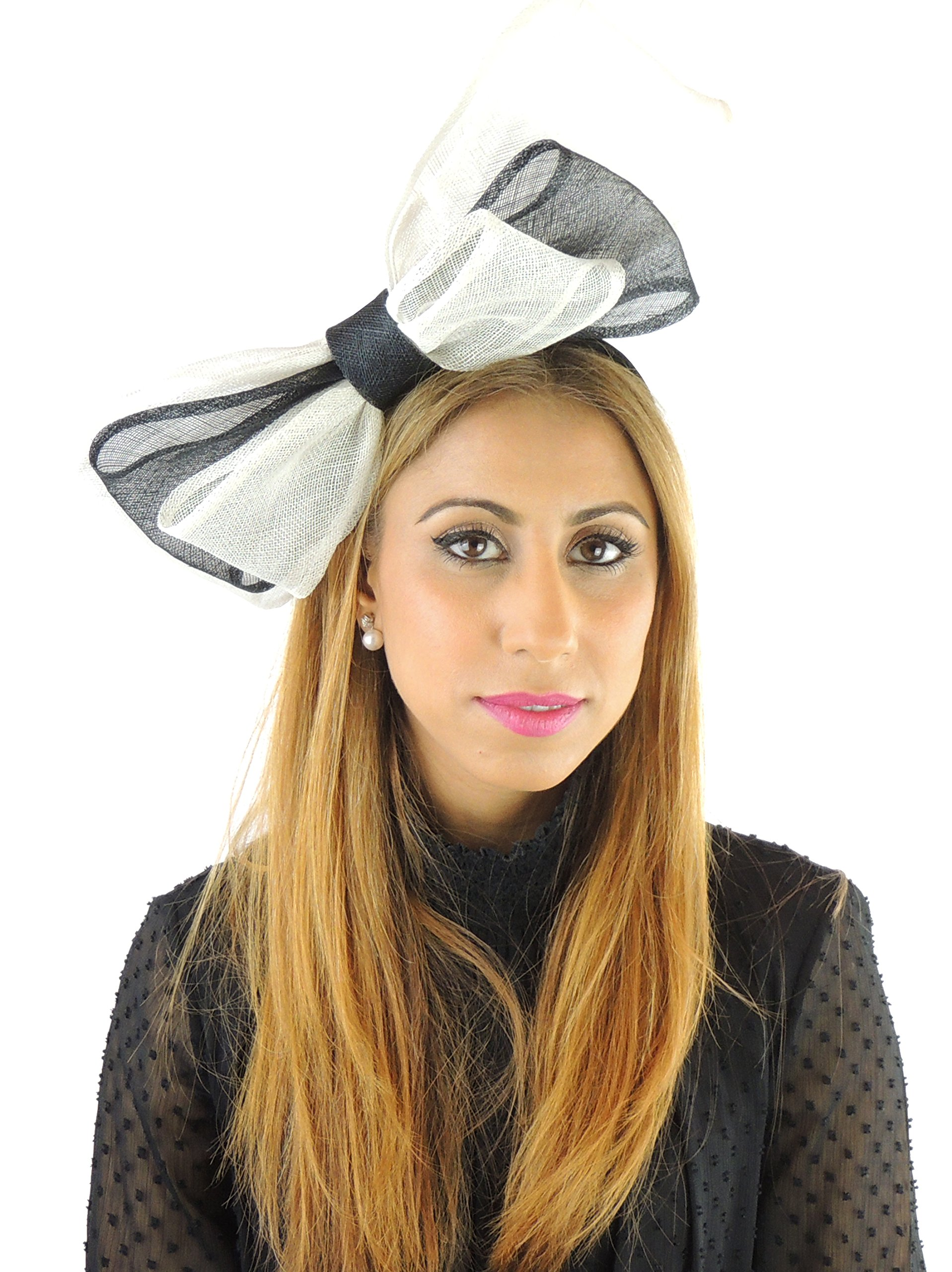 Hats By Cressida Ladies Sinamay Bow Ascot Fascinator Hat With Headband Black Ivory by Hats By Cressida