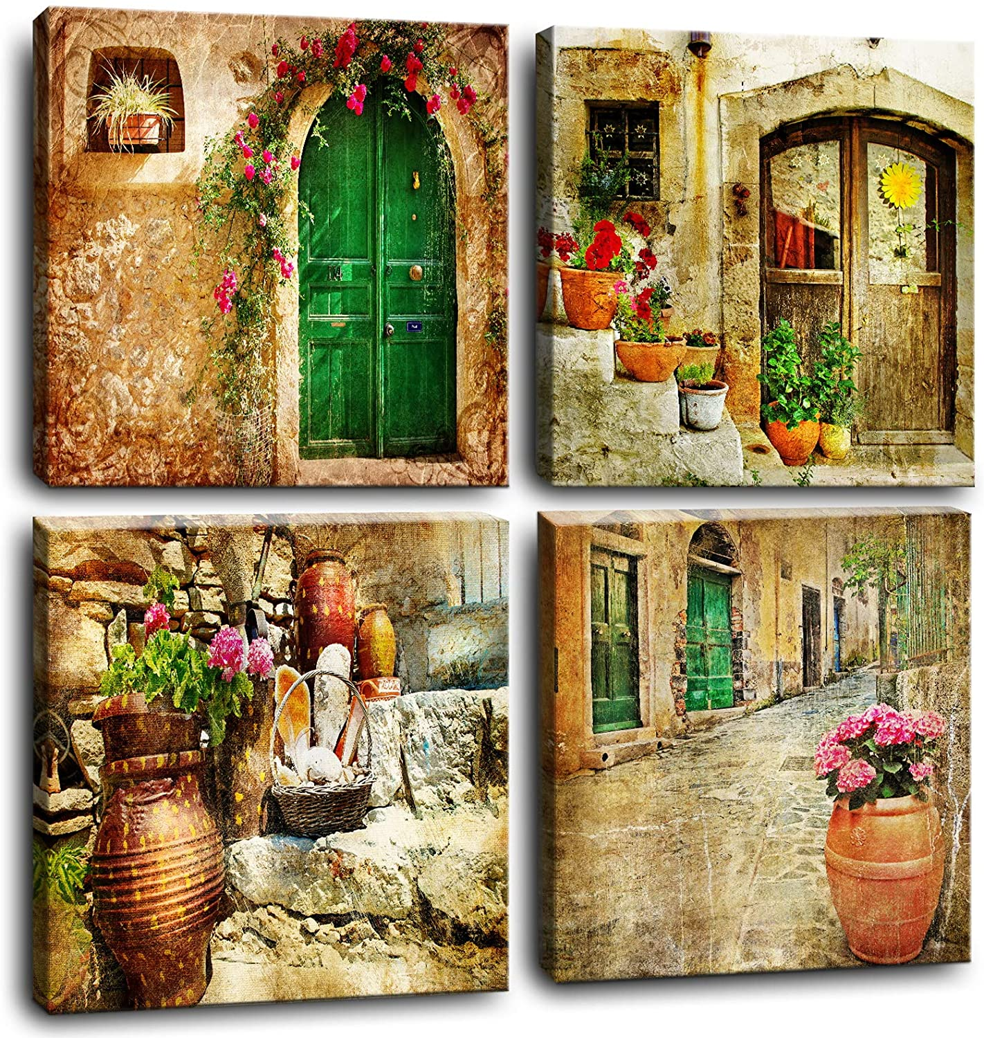 Rustic Wall Dining Room Sunflowers Bathroom Decor Wall Art Kitchen Wall Decor Farmhouse Country Bedroom Canvas Wall Art Paintings Prints Pictures Framed Artwork Decorations for Living Room Set 4 Pcs