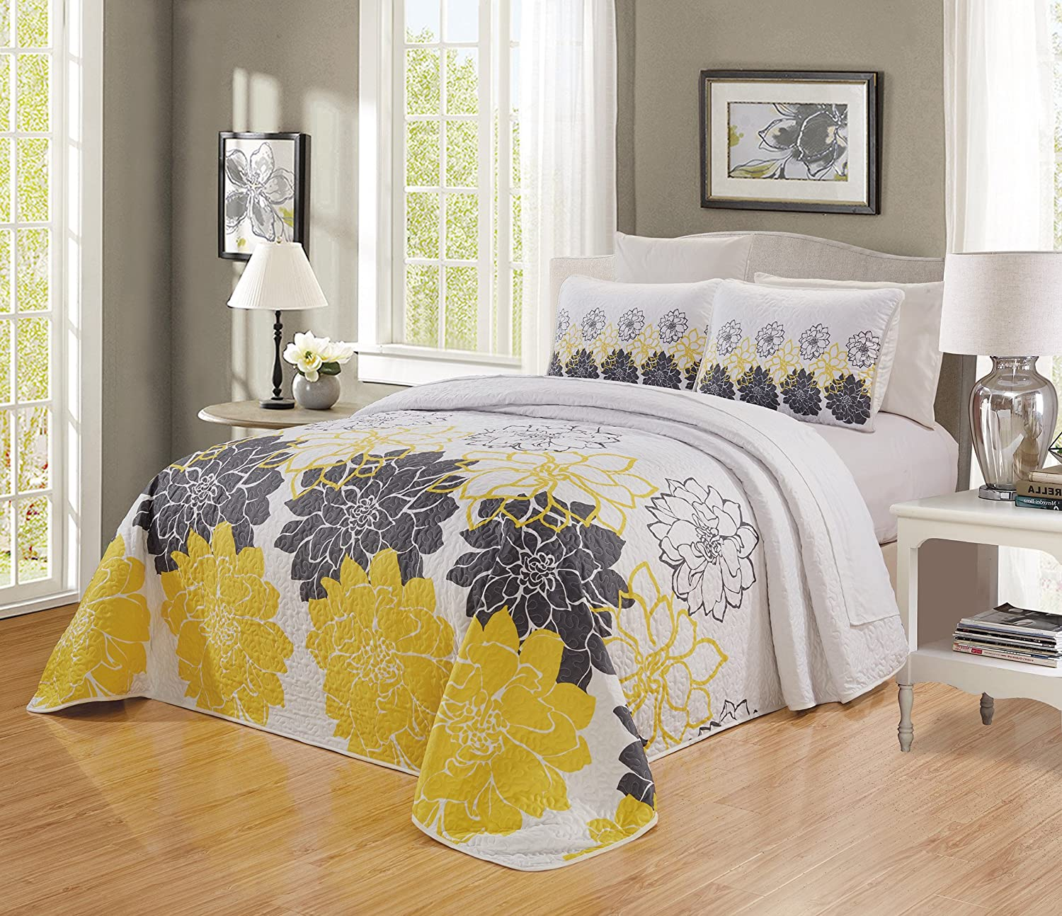 66 X 95 Aqua Blue, Grey, Medallion 2-Piece Fine Printed Oversize Quilt Set Reversible Bedspread Coverlet Twin//Twin XL Size Bed Cover