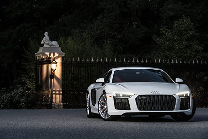 Amazon.com: Audi R8 V10 (2017) Car Print on 10 Mil Archival Satin Paper White Front Side Static View 11