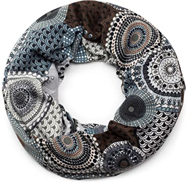 Schal Damen Feinstrick Loop Schlauchschal mit Ethno Punkte African Style Muster