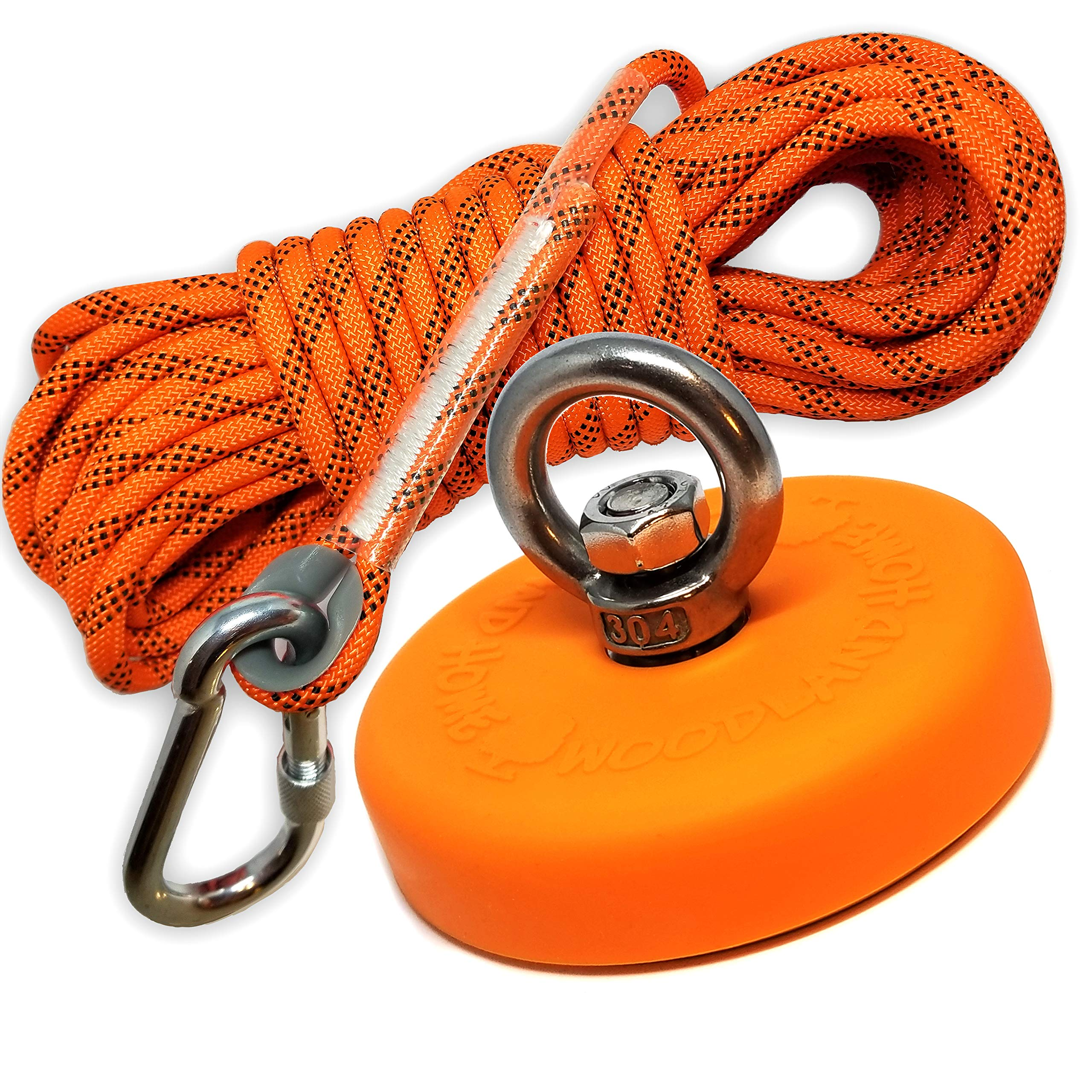 Super Strong Deluxe Fishing Magnet 880LB & Rope Kit   Rope Over 2000 LB Strong   Magnet 880lb (400KG) Pull   Durable Orange Rubber   Neodymium Rare Earth Magnet 3.54 inch(90 mm) for Magnet Fishing ... by Woodland Home