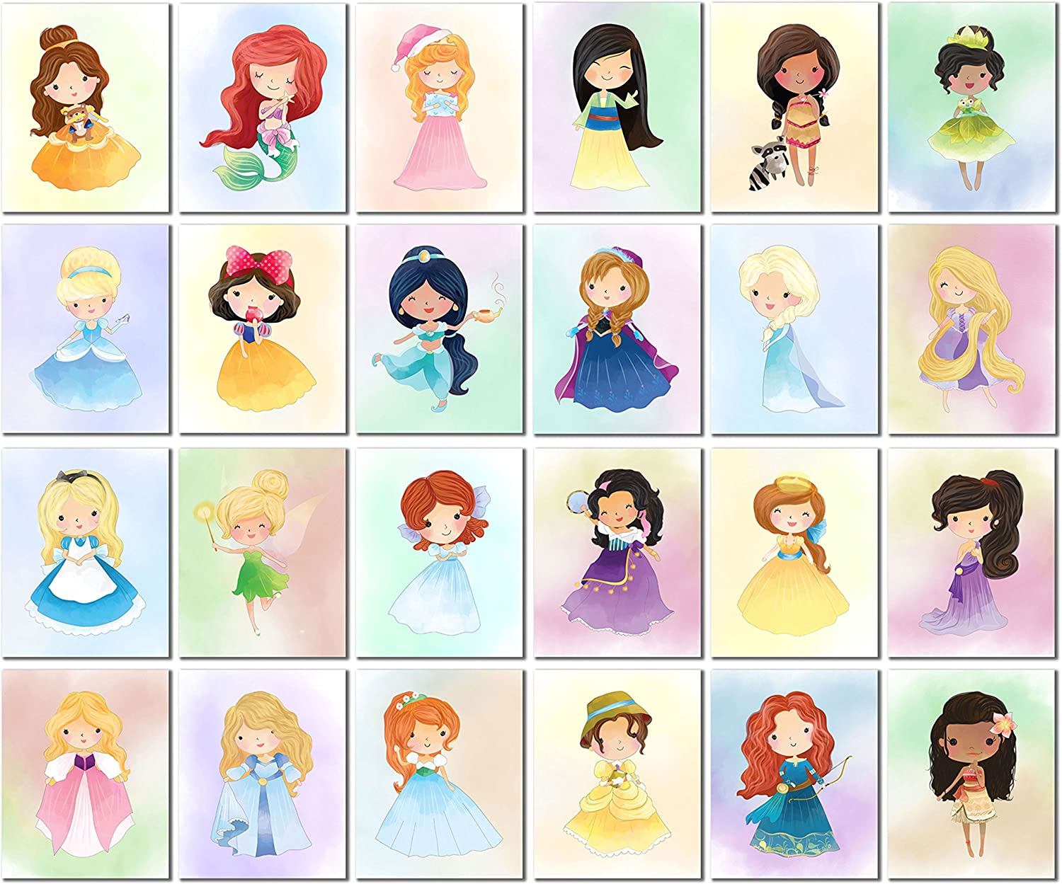Ultimate Princess and Heroine Kids Art Prints - Set of 24 Original (8 inches x 10 inches) Watercolor Photos