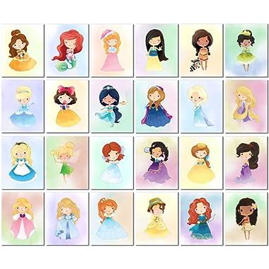 Ultimate Disney Princess and Heroine Kids Art Prints - Set of 24 Original 8x10 Watercolor Photos
