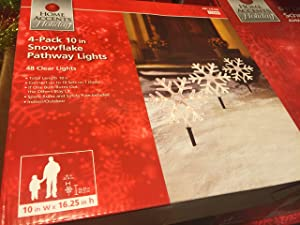 10 Inch Snowflakes Pathway Lights, 4 Pack
