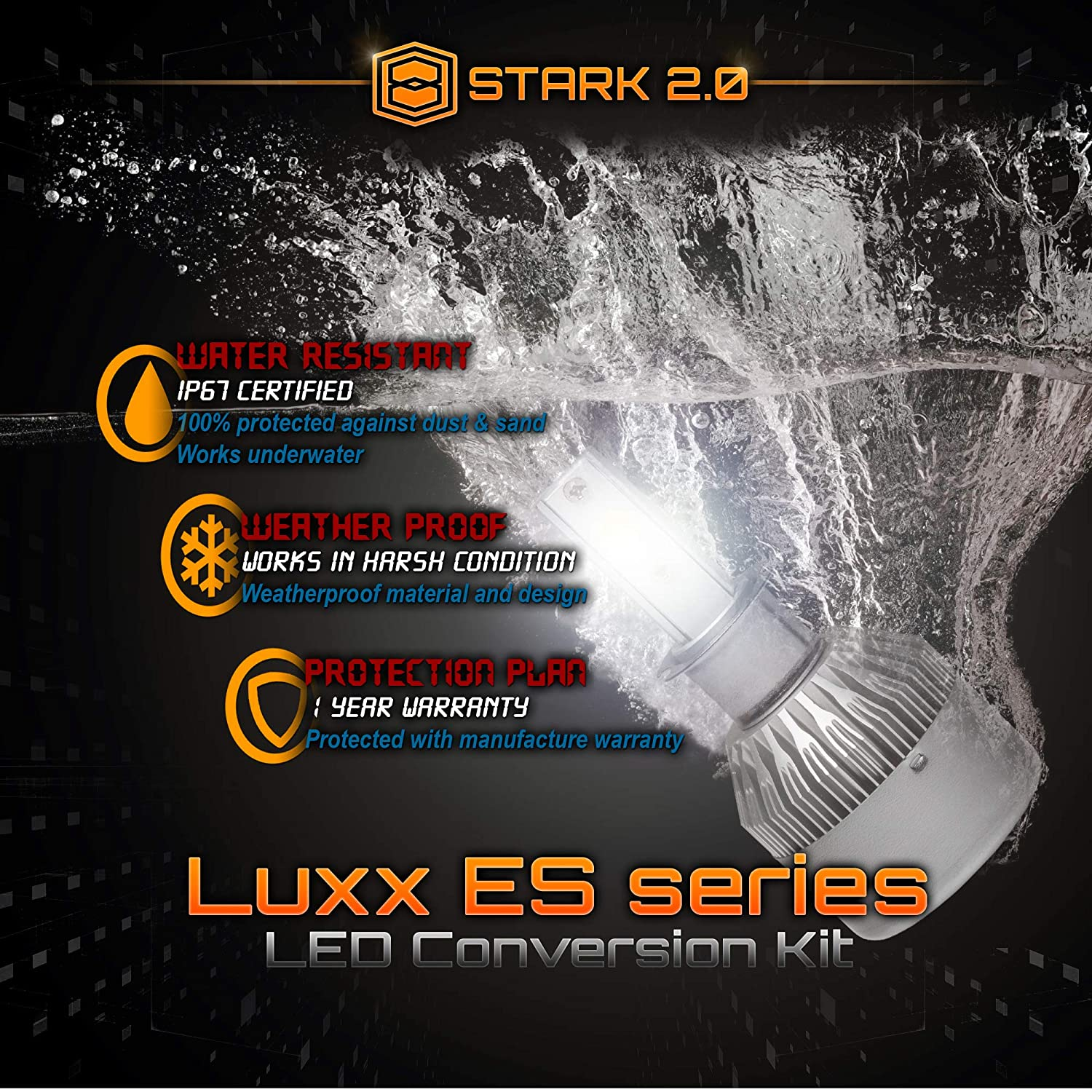 Stark 2.0 Luxx ES Series 66W 7400LM All-in-One LED COB-Flip Chip Conversion Kit Cool White 6000K 6K Pair Bulbs Fog Lights H3 UNV inc