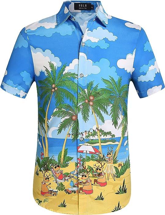 2f4e7585 SSLR Men's Xmas Holiday Button Down Ugly Hawaiian Christmas Shirts (Small,  Blue Yellow)