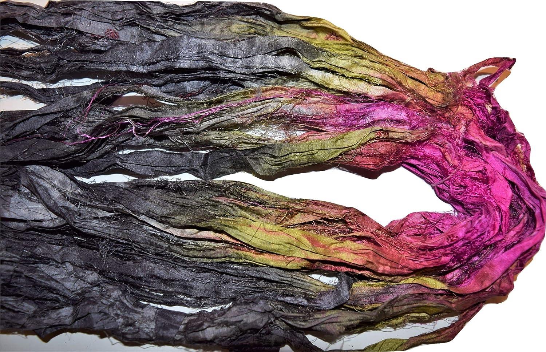 10 yards Recycled Sari Silk Ribbon Yarn embellishment Brown for tassels
