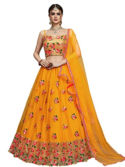 Buy Fast Fashions Women S Net Semi Stitched Lehenga Choli Ff 5296 Yellow Free Size At Amazon In