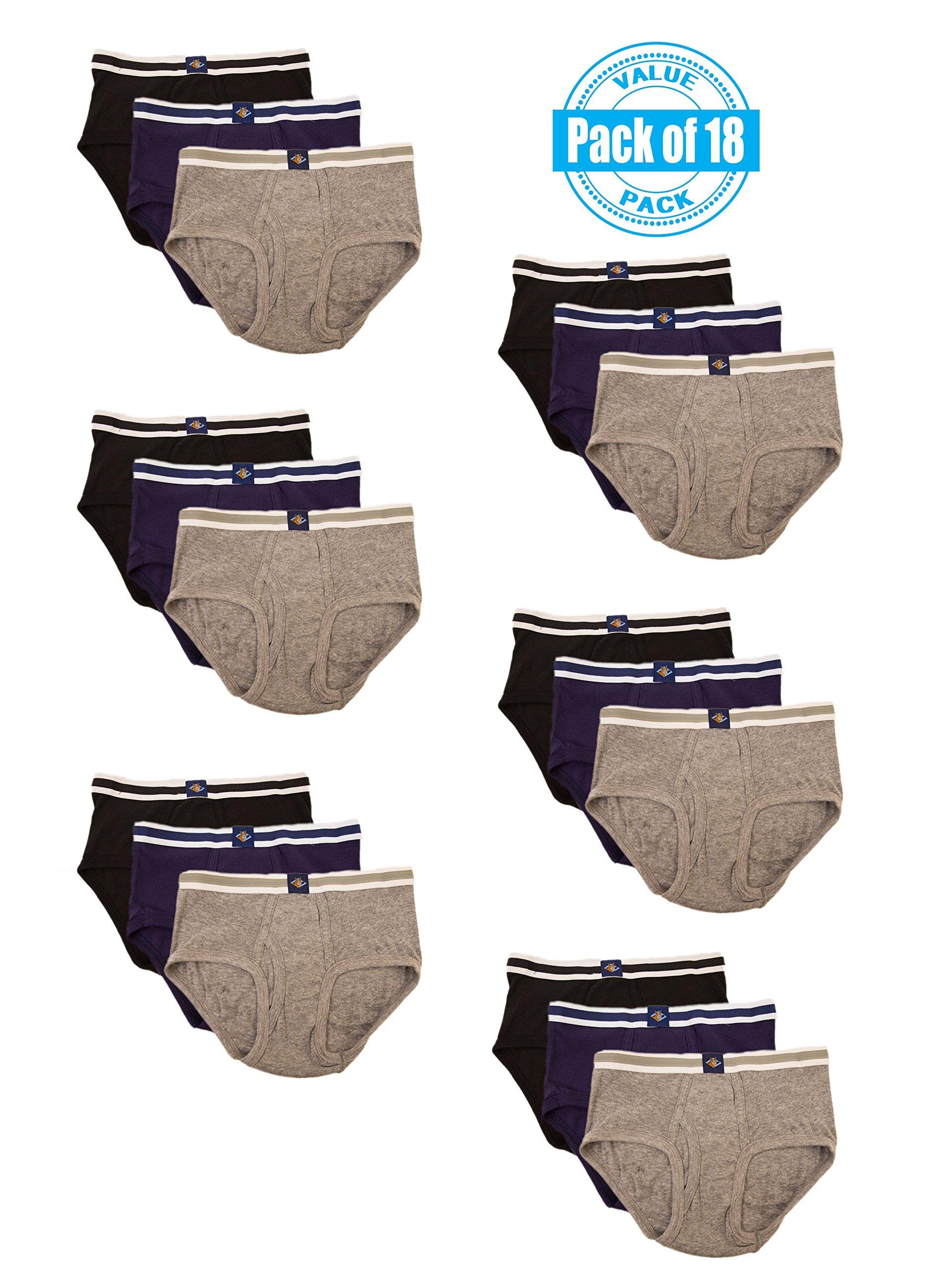 Joseph Abboud Boys 18 Pack Classics Full Cut Cotton Briefs (X-Large  18/20, Black /Grey/ Navy) by Joseph Abboud (Image #1)