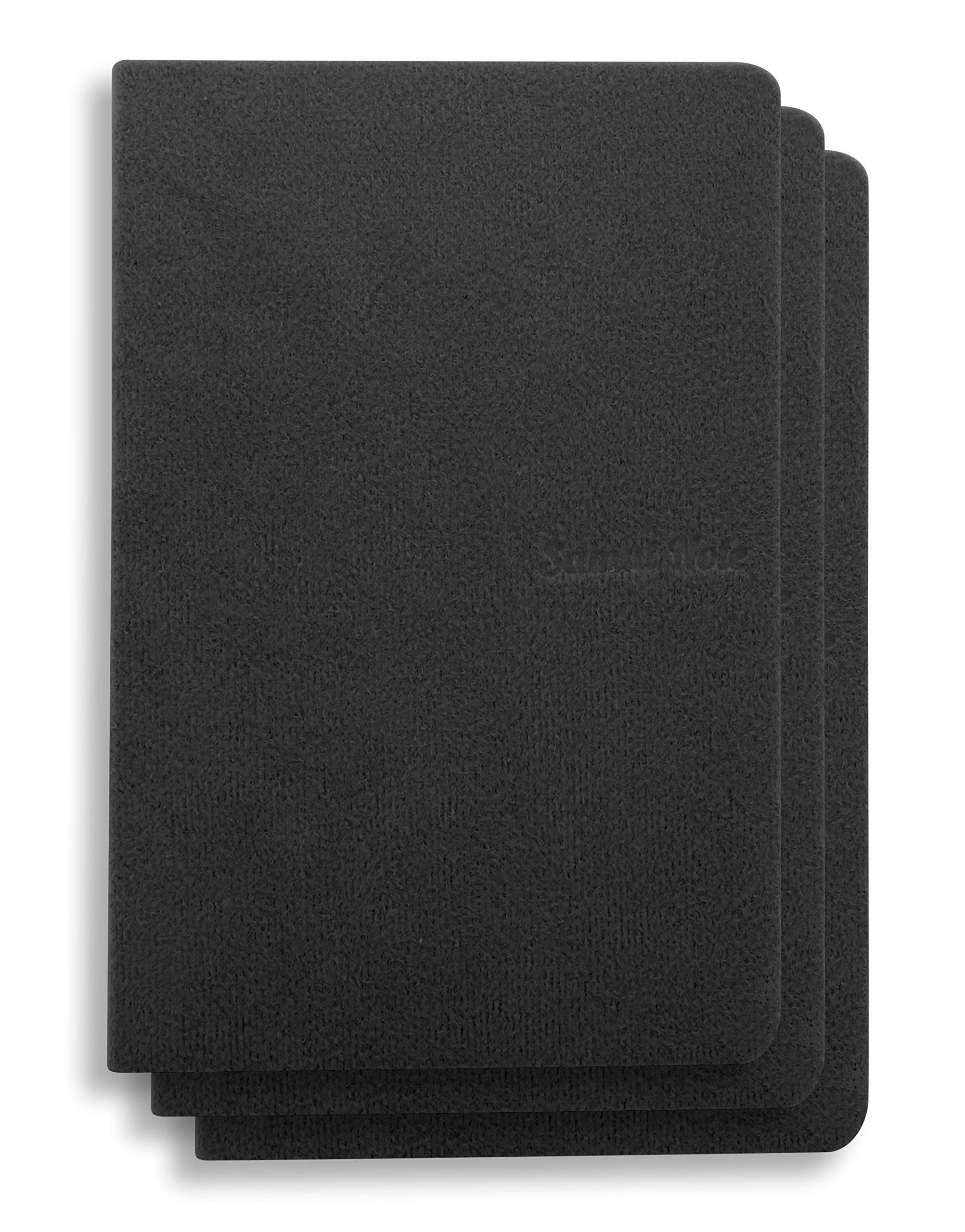 (Pack Of 3) 5.7 x 3.8 inches NoteBook Handmade Soft Black Fabric Cover, 192 lined Pages | Lay Flat Binding | Cream Paper, A6 Size