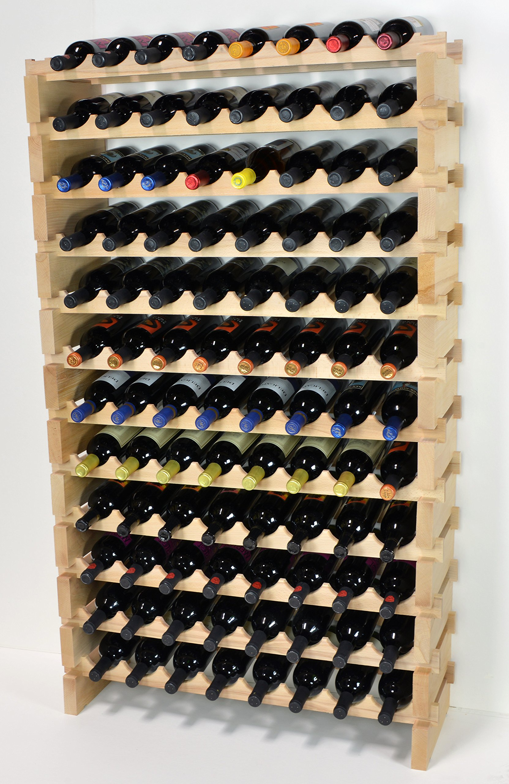 Modular Wine Rack Pine Wood 32-96 Bottle Capacity Storage 8 Bottles Across up to 12 Rows Stackable Newest Improved Model (96 Bottles - 12 Rows) by sfDisplay.com,LLC. (Image #1)