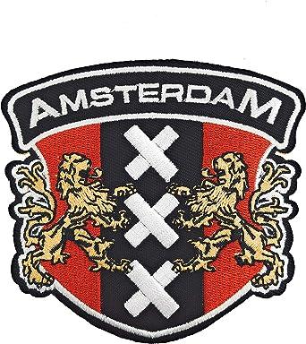 Gemelolandia | Parche Bordado Termoadhesivo Escudo de Amsterdam 8,5 cm | Muy Adherentes | Patch Stickers Para Decorar Tu Ropa | Fáciles de Poner: Amazon.es: Ropa y accesorios