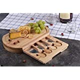 Cheese Board Set by StarBlue - Oval Shape with 4 Knives and Slide Out Drawer