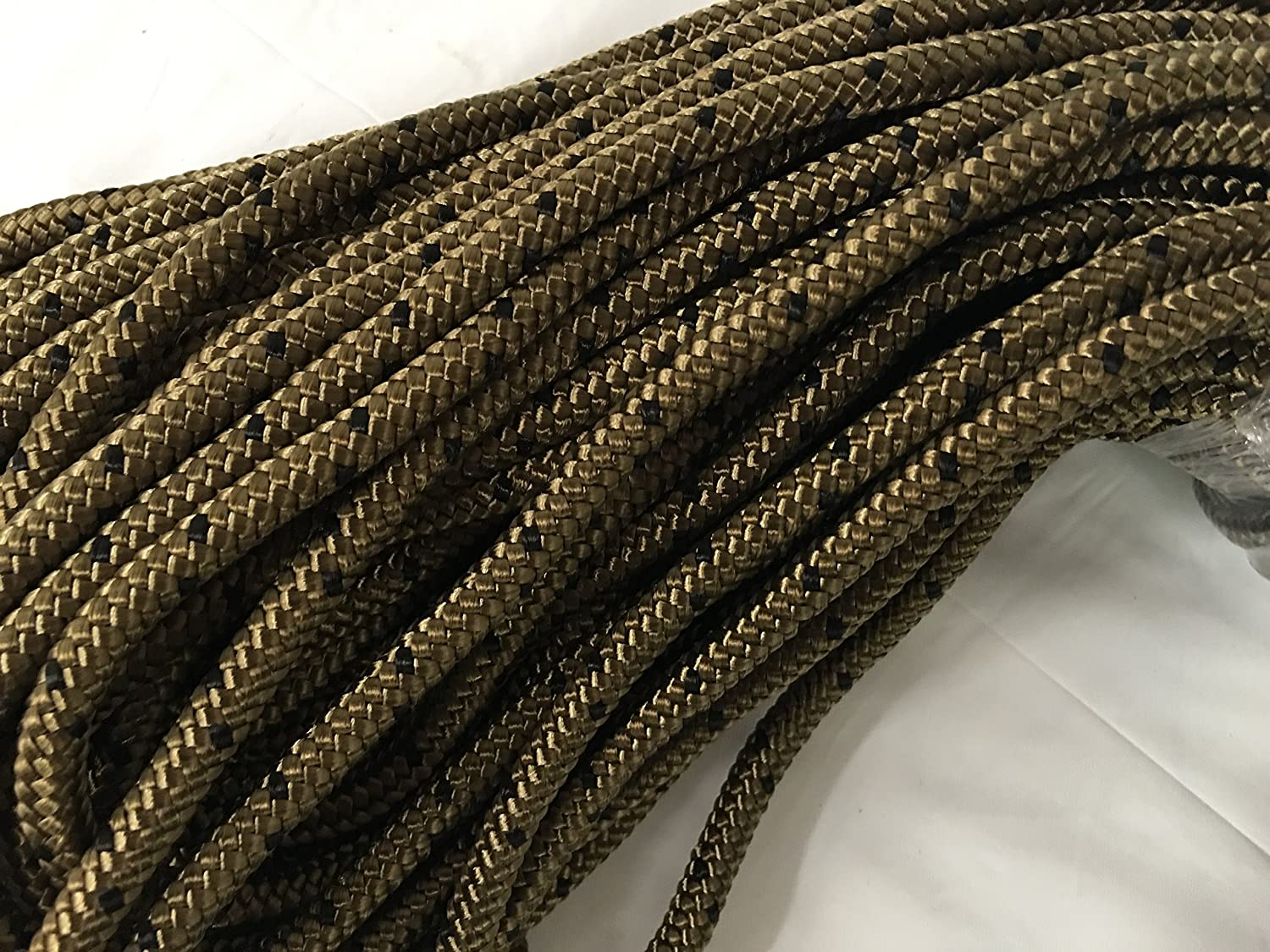 "1/4"" Braided Nylon Rope, Coyote brown with black tracers"