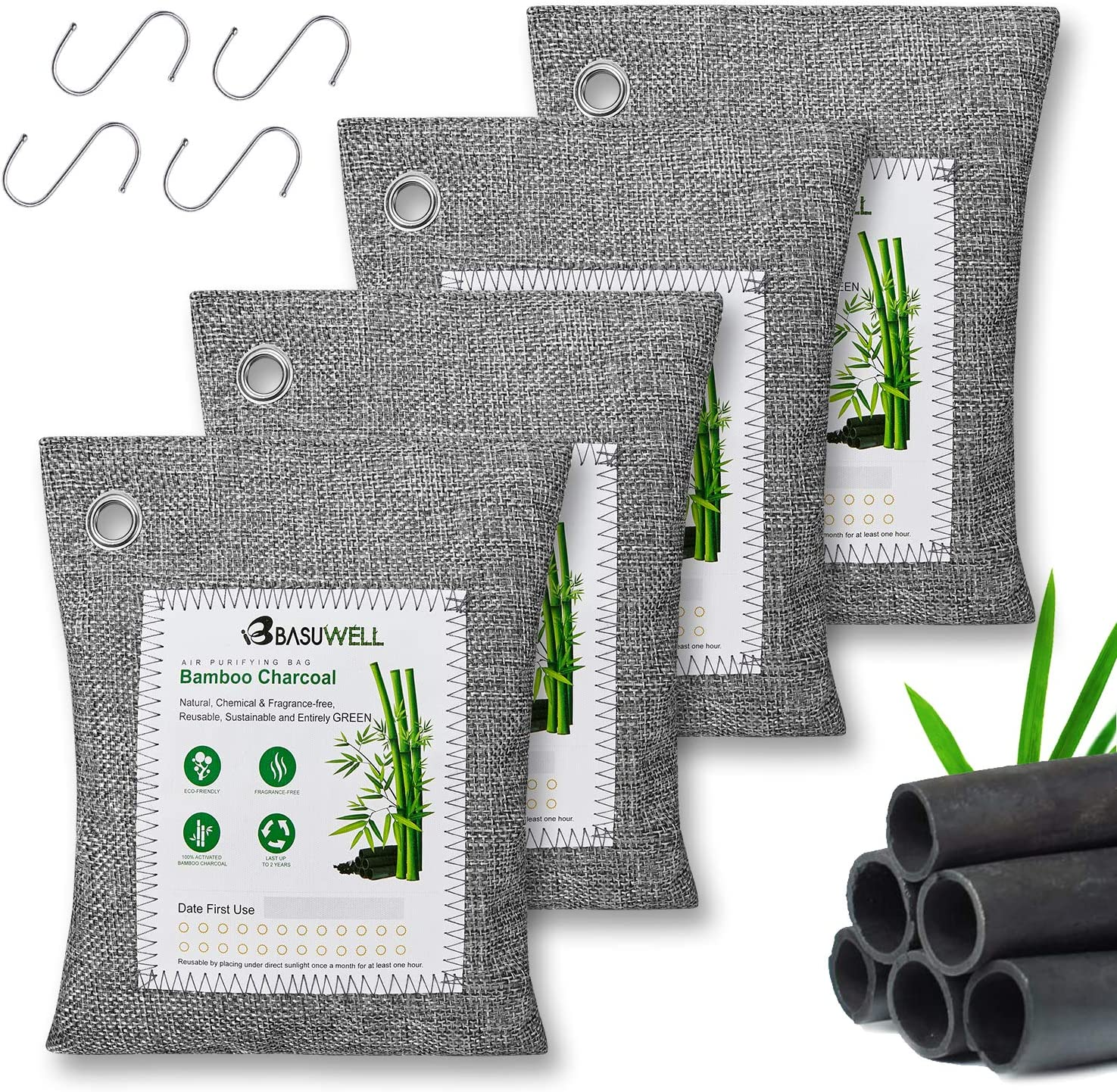 Bamboo Charcoal Air Purifying Bags 4-Pack with 4 Hooks, Naturally Freshen Air with Powerful Activated Charcoal Bags Odor Absorber, Kids and Pets Friendly Natural Charcoal Bags, 4x200g