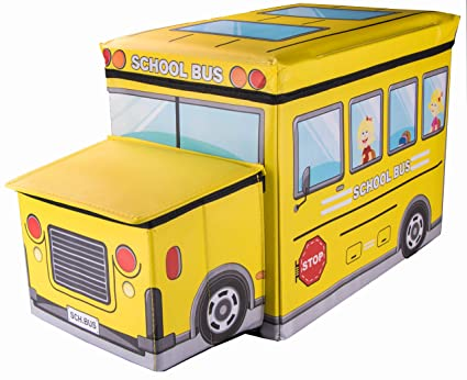 School Bus Collapsible Toy Storage Box And Closet Organizer With Storage  Hood For Kids By Clever