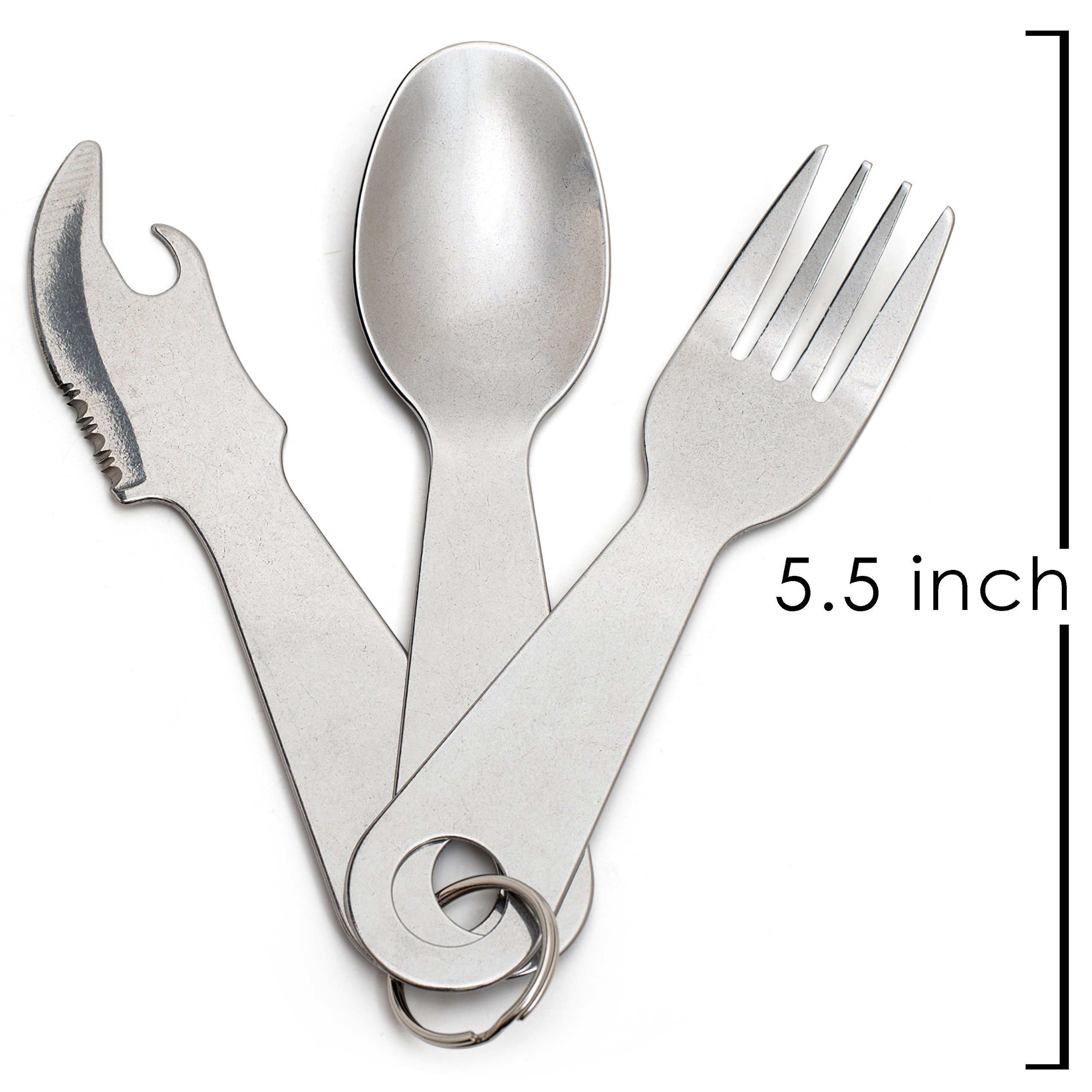 Out&Joy Lightweight Stainless Steel Camping Cutlery Set – Compact, Multi-Purpose, Eco-Friendly Silverware Set Includes 2 Forks, 2 Spoons, 2 Knives, + 2 Can and Bottle Opener (2 Person Setting)
