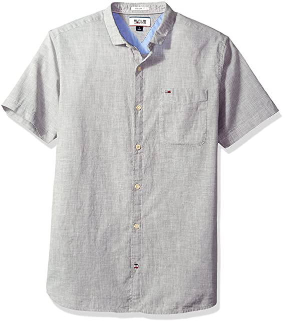c73db6fd4 Tommy Hilfiger Men's Thdm Linen Blend Shirt with Short Sleeve: Amazon.ca:  Clothing & Accessories