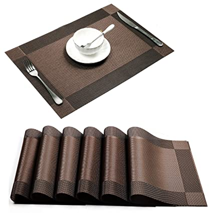 Baskety (Set of 4 PCS) Eco-Friendly Colorful Place Mats Dining Tablemates Washable Heat-(Brown, HIWAYPLACEMATE)