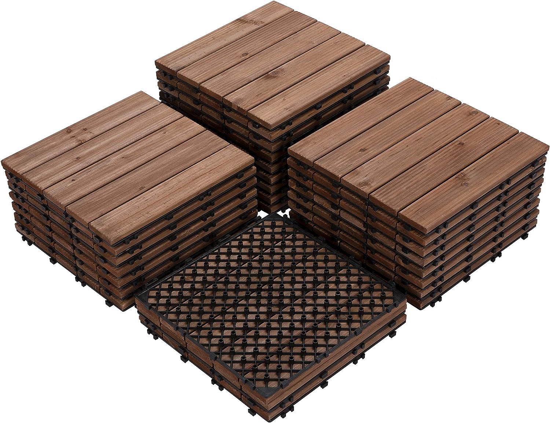 Amazon Com Yaheetech 27pcs Patio Pavers Tiles Interlocking Wood Flooring Deck Tiles Hardwood Flooring Fir Wood And Plastic Indoor Outdoor Applications Stripe Pattern 12 X 12in Home Improvement