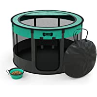 Ruff 'n Ruffus Portable Foldable Pet Playpen + Carrying Case & Collapsible Travel Bowl   Indoor/Outdoor use   Water…
