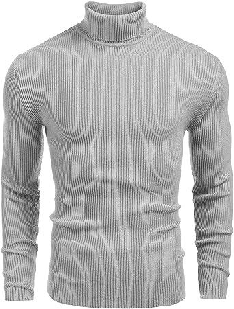 BYWX Men Ribbed Slim Fit Knit Pullover Turtleneck Sweater Top