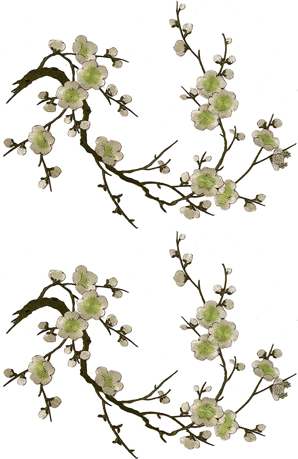 Purple Two Asian Cherry Blossom Sakura Flower Iron on Embroidered Appliques Patch Japanese Chinese