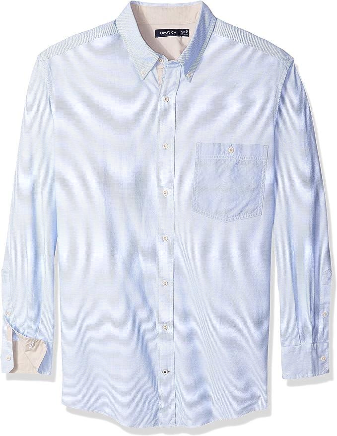 Nautica Hombres M64520 Camisa con Botones - Azul - Large Tall: Amazon.es: Ropa y accesorios