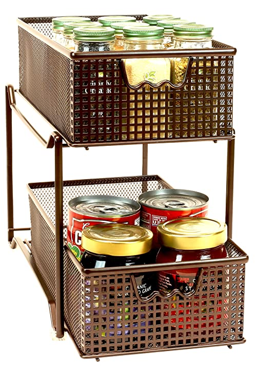 Amazon.com: DecoBros Two Tier Mesh Sliding Cabinet Basket ...