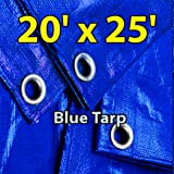20'x25' Blue Multi-purpose 6ml Waterproof Poly Tarp Cover with Tent Shelter Camping Tarpaulin By Prime Tarps