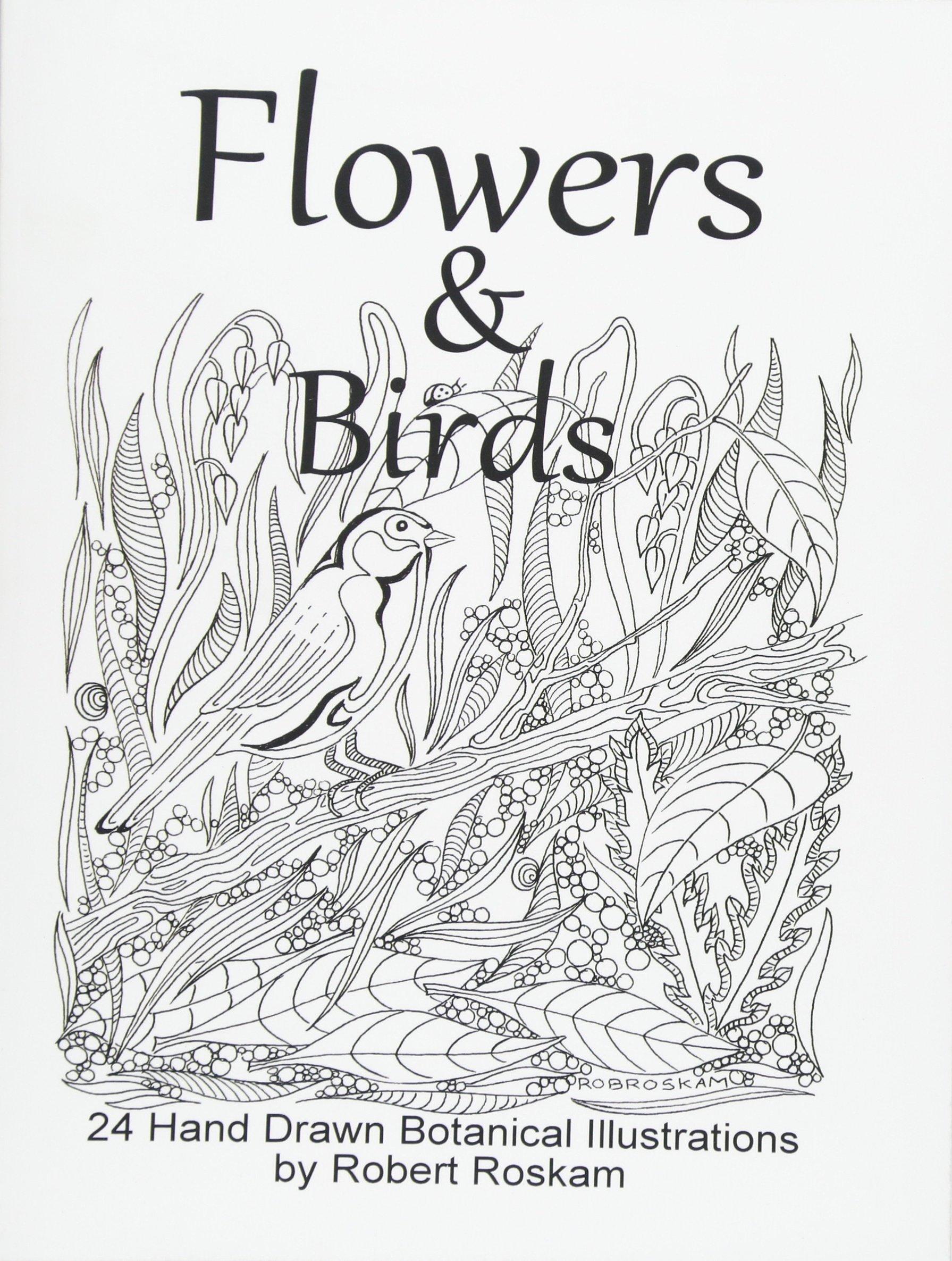 Amazon Com Flowers And Birds 24 Hand Drawn Botanical Illustrations