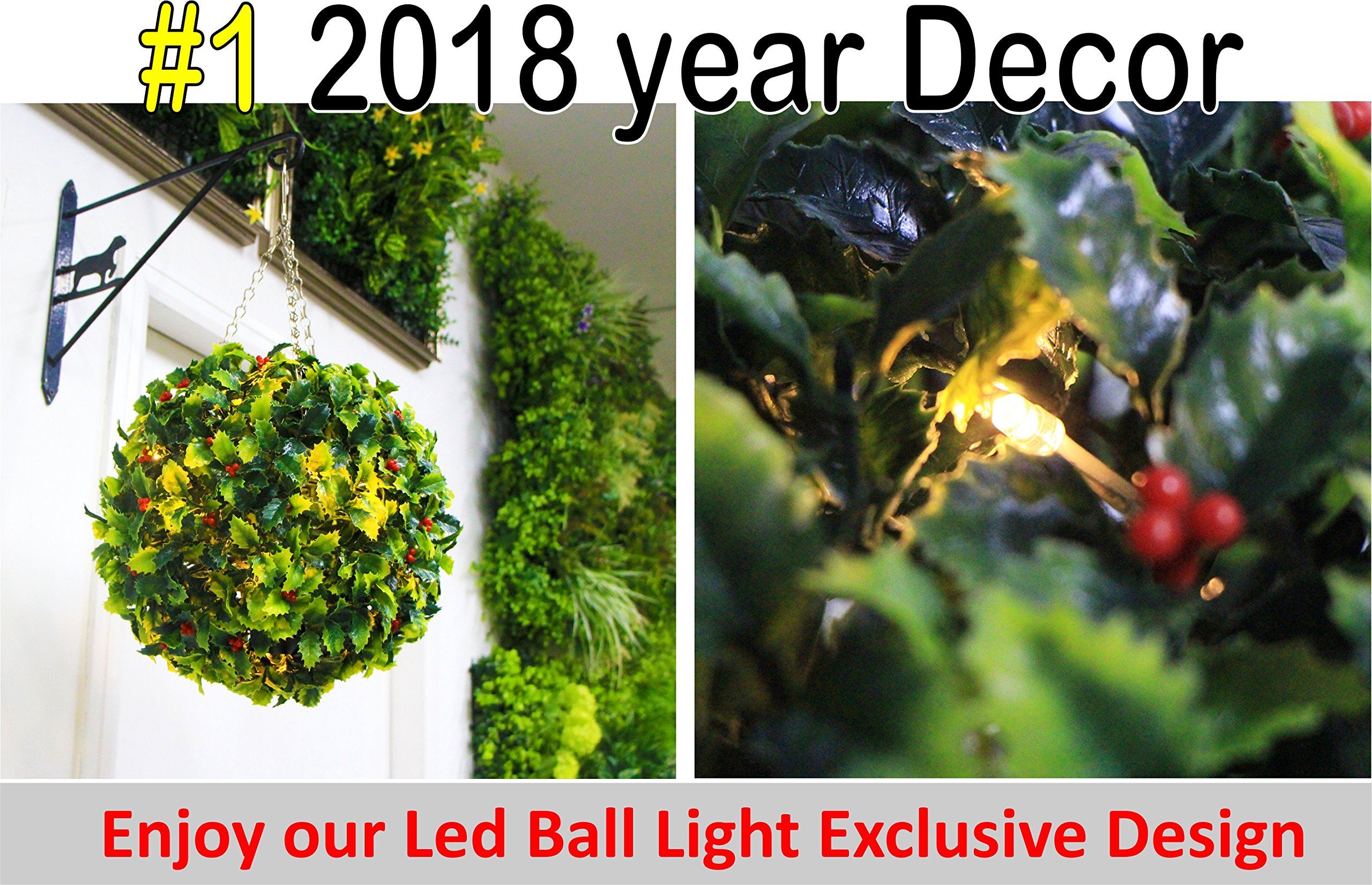 6 GENPAR Christmas DECORATIONS Artificial Boxwood Hedge Ball w/ LED LIGHT EXCLUSIVE DECOR 11.8'' diameter 2018 NEW ARRIVAL Natural TREE LEAF NO WATER Topiary Plant Indoor Outdoor Pendant Patio Home by GENPAR
