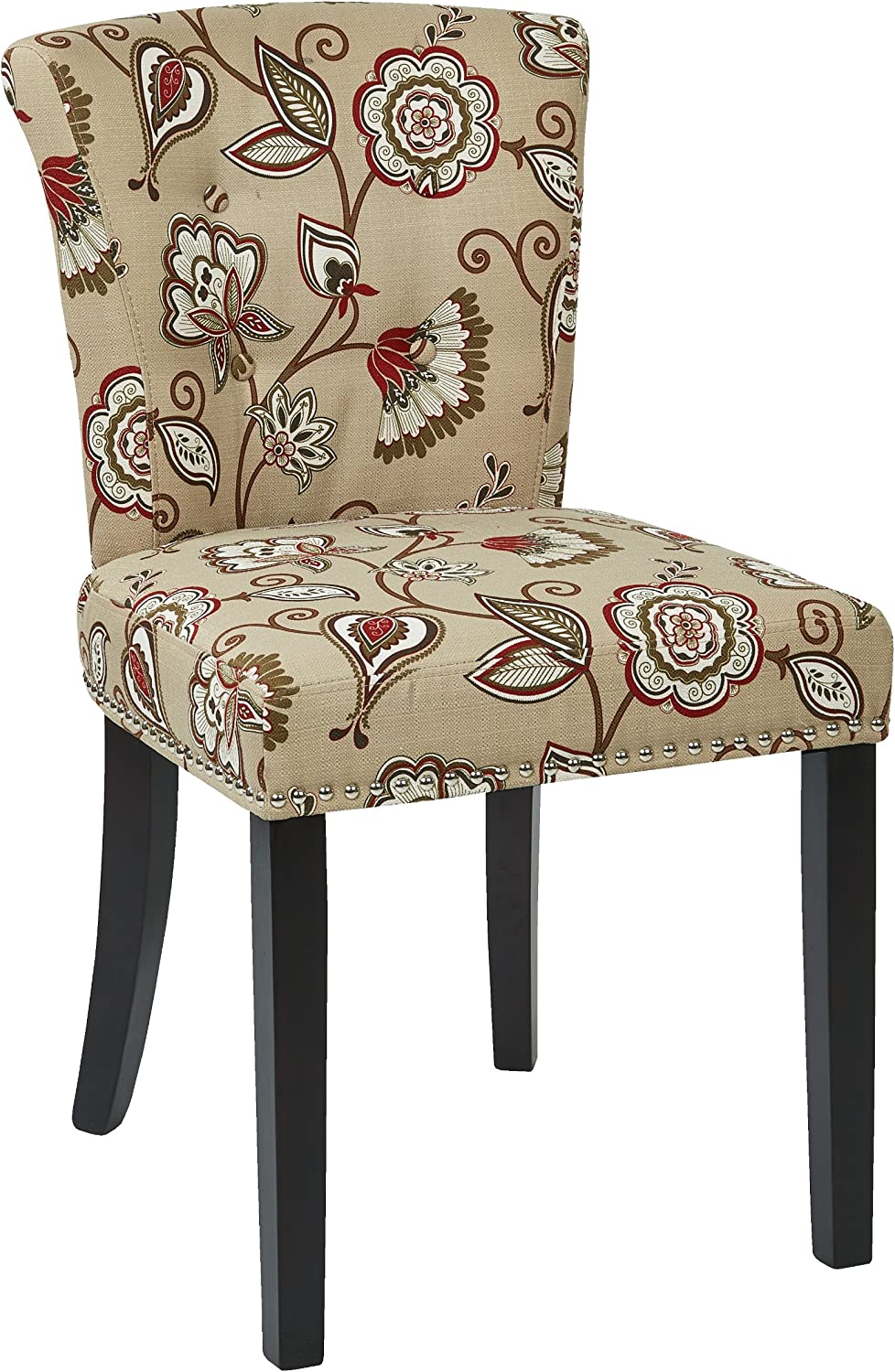 Osp Home Furnishings Kendal Tufted And Inner Spring Chair With Nailhead Detail And Solid Wood Legs Avignon Bisque Fabric Chairs Amazon Com