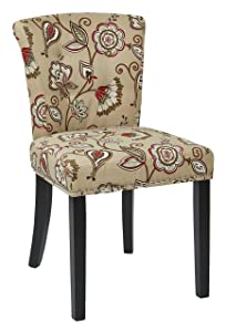 AVE SIX Kendal Tufted and Inner Spring Chair with Nailhead Detail and Solid Wood Legs, Avignon Bisque Fabric