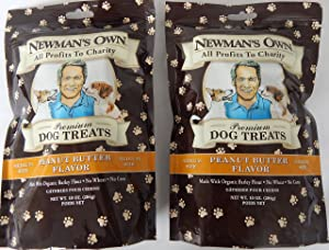 Newman's Own Organic Premium Dog Treats, Peanut Butter Flavor, Medium Size Biscuits, 10-Oz. (Pack of 2)