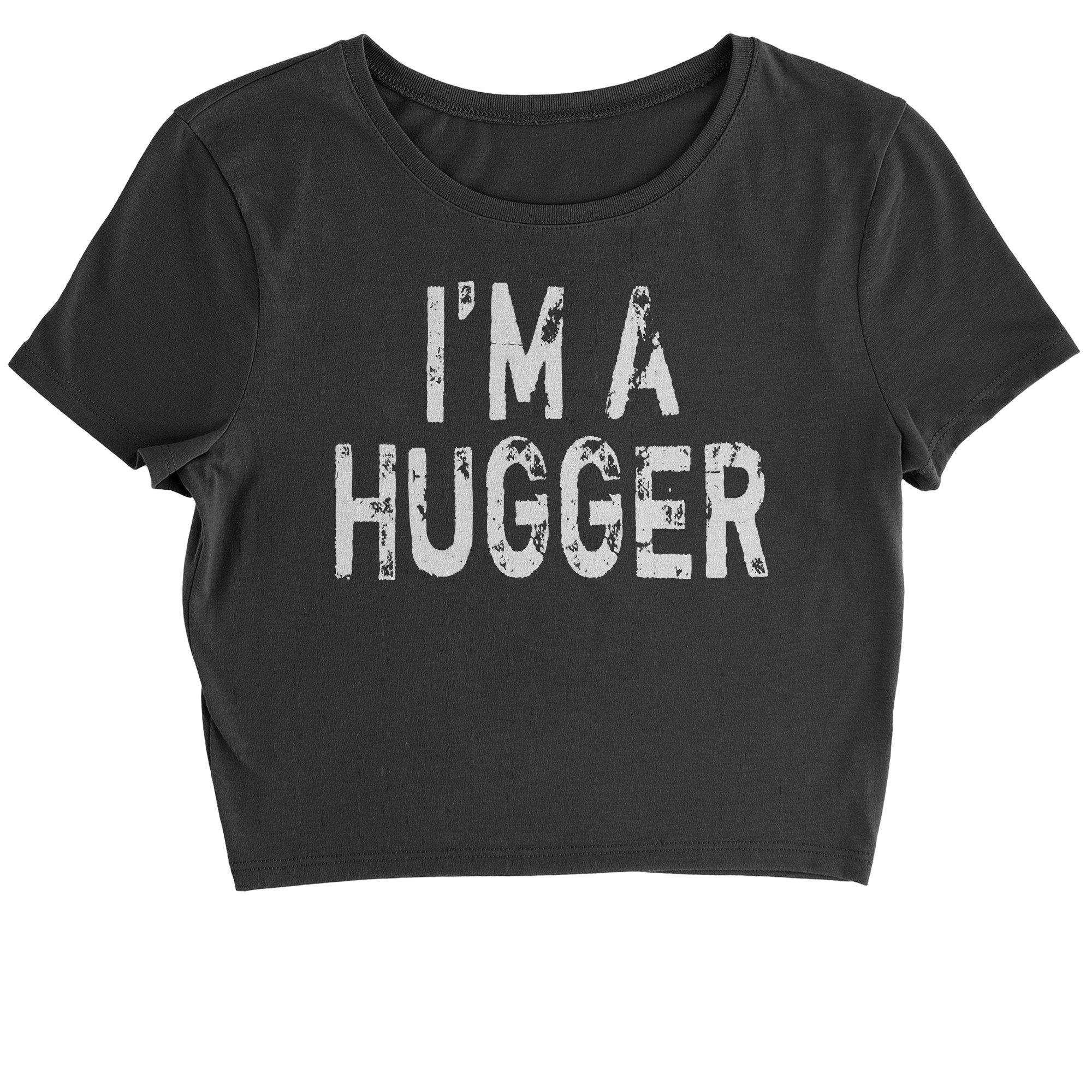 Expression Tees Cropped T-Shirt I'm A Hugger Wrestling T-Shirt Large Black