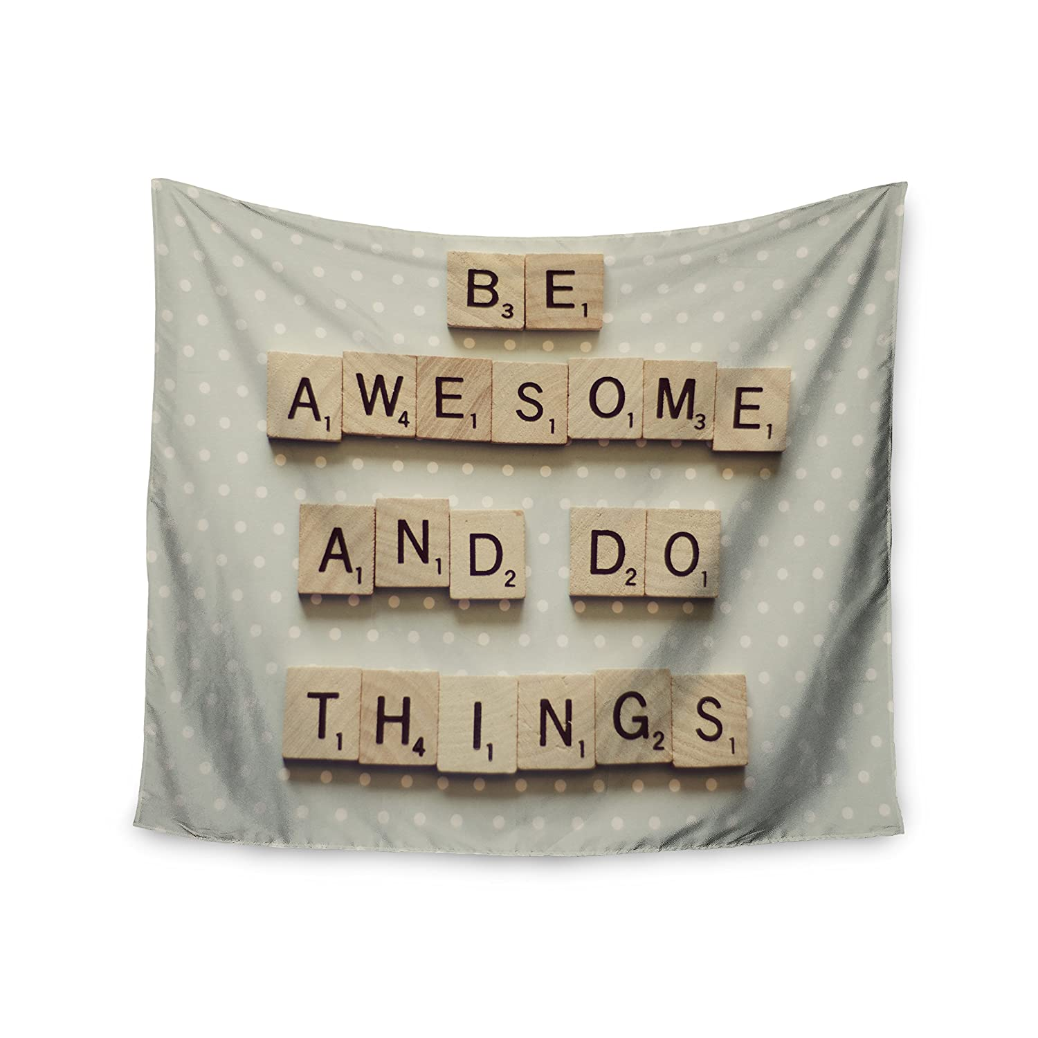 Kess InHouse Cristina Mitchell Be Awesome and Do Things Wooden Letters Wall Tapestry 68 X 80