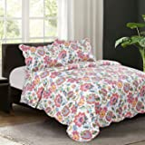 All Season 3 PCS Revisible Printed Floral Quilt Set Embroidered Bedspread Coverlets Bed Throw with 2 Shams Lightweight Hypoallergenic Vintage Style (King Pattern #2)