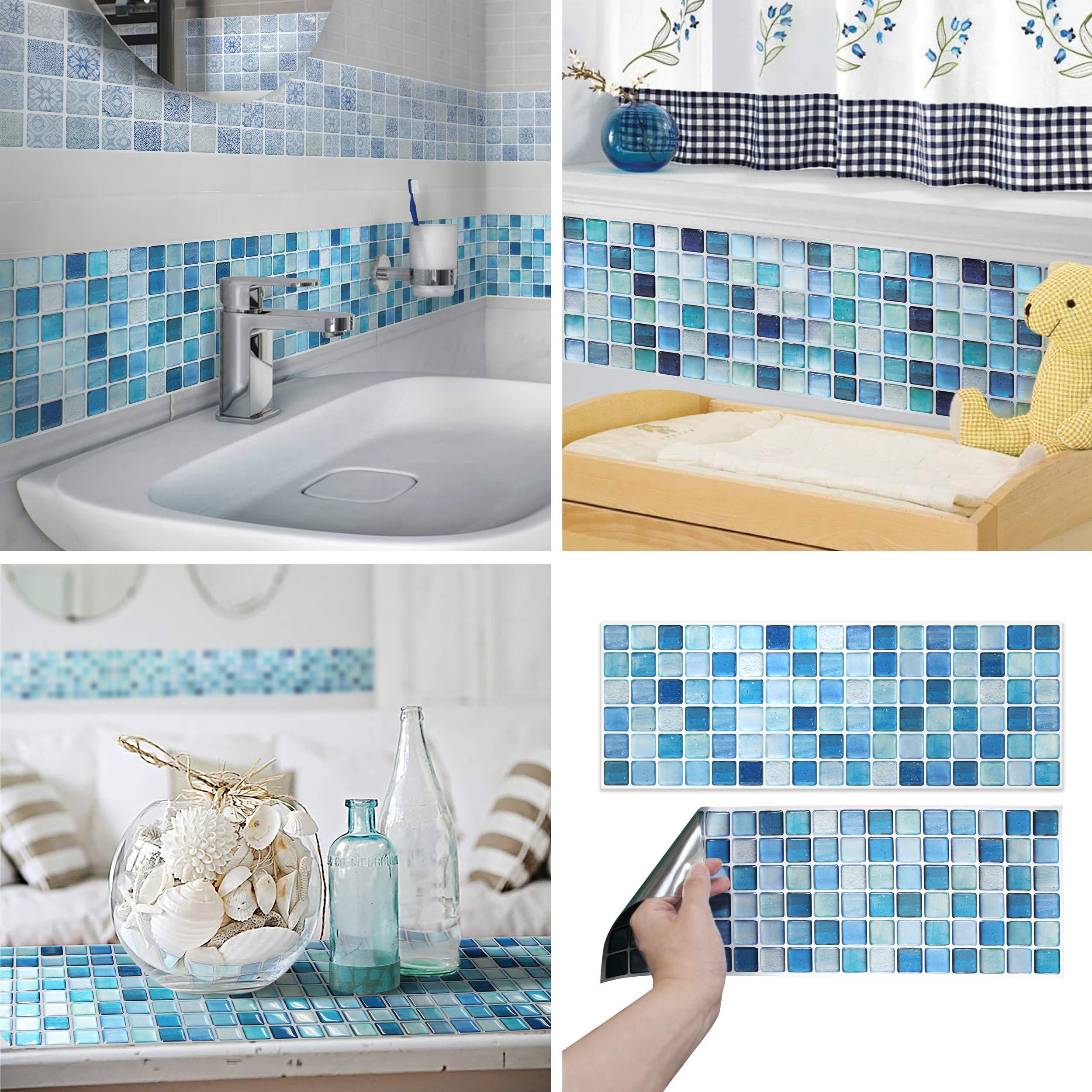 BEAUSTILE Decorative Tile Stickers Peel and Stick Backsplash Fire Retardant Tile Sheet (N.Blue) (10, 5.28'' x 14.8'') by BEAUS TILE (Image #1)
