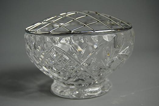 Corte cristal de flores ramillete de flores cuenco con tallo jaula ...