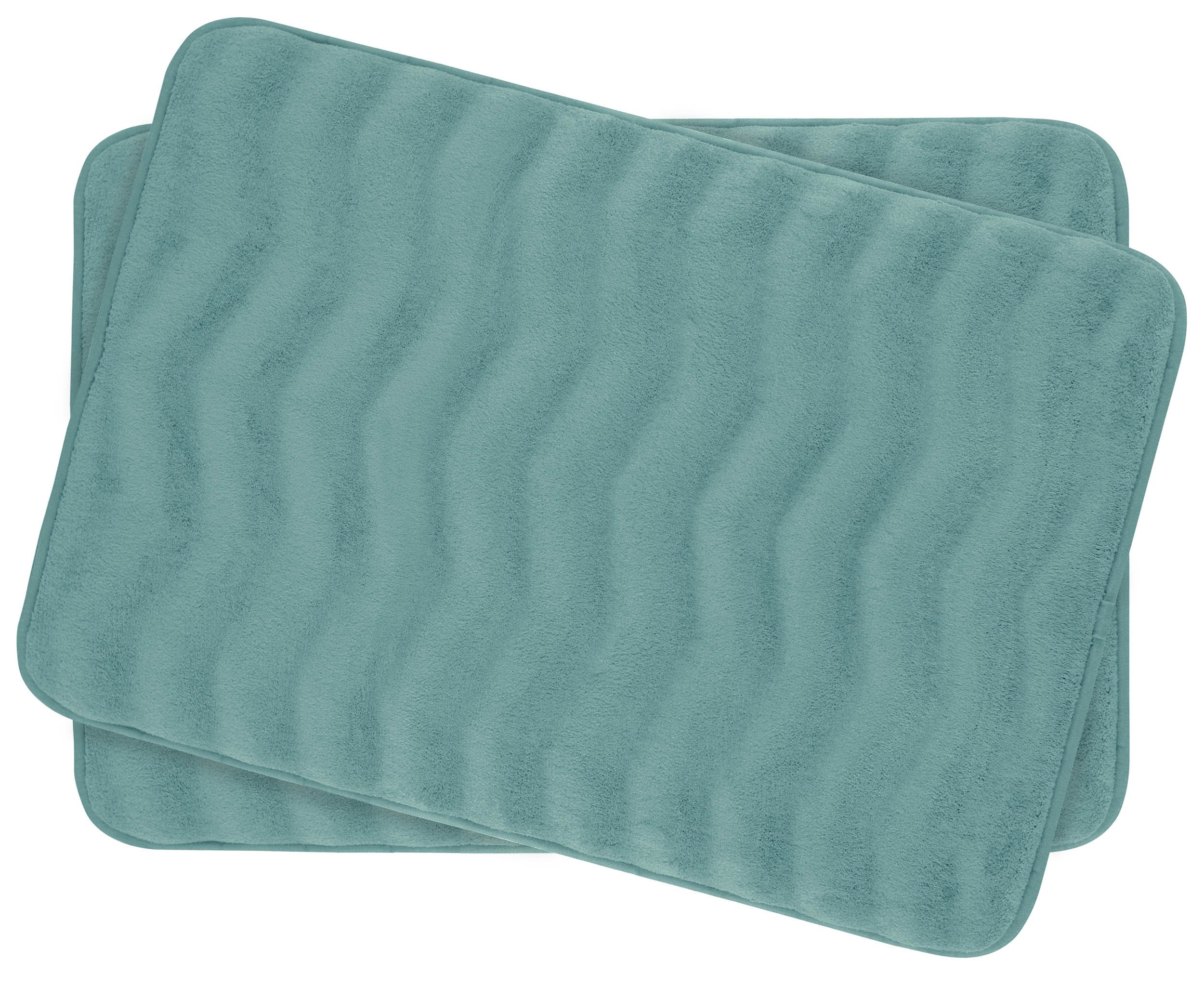 Bounce Comfort Waves Extra Thick Memory Foam Bath Mat Set - Plush 2 Piece Set with BounceComfort Technology, 17 x 24 in. Marine Blue