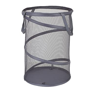Household Essentials 2027-1 Pop-Up Collapsible Mesh Laundry Hamper   Charcoal