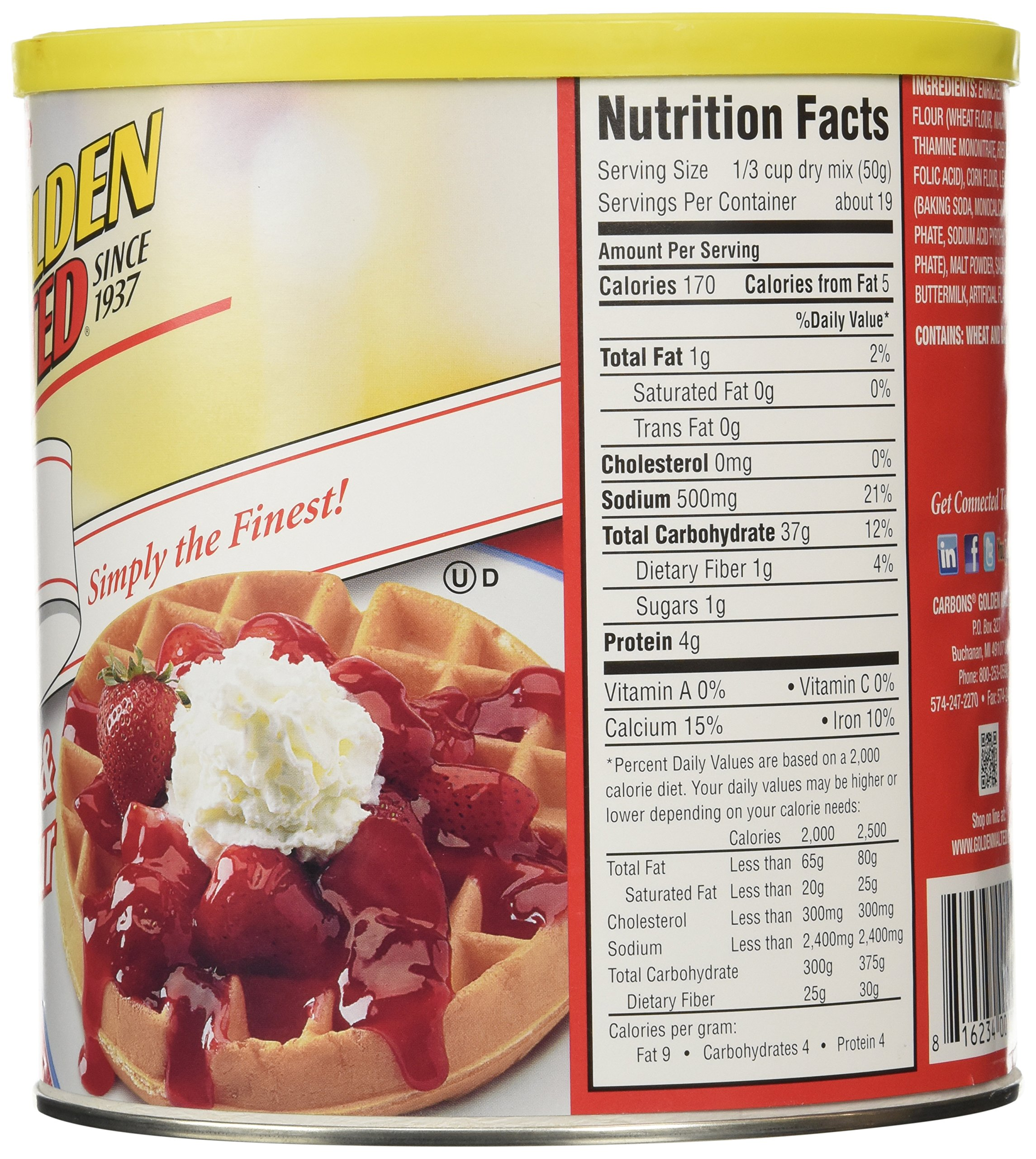 Golden Malted Waffle and Pancake Flour, Original, 33-Ounce Can by Golden Malted (Image #4)