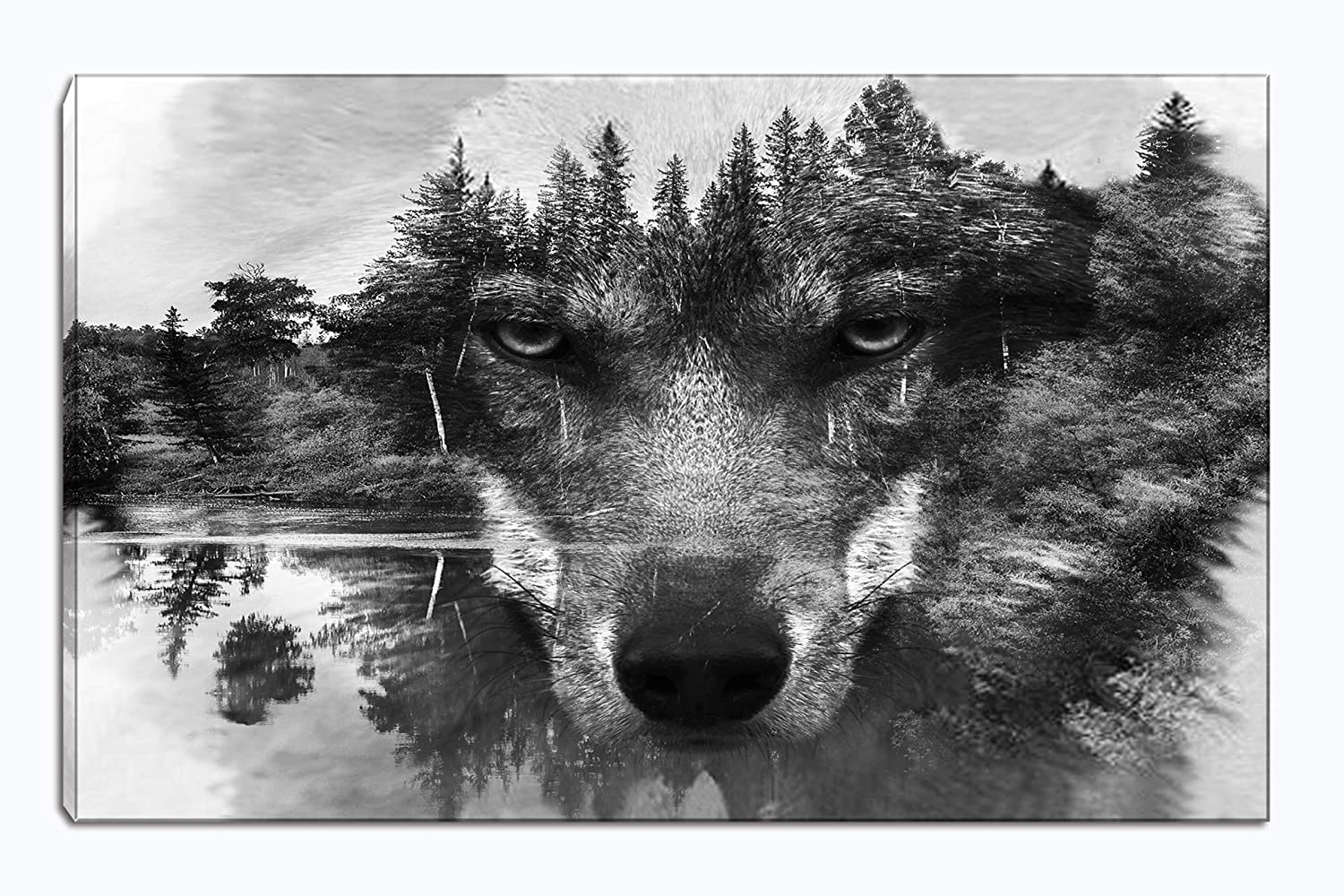 Wolf canvas wall art animal paintings picture black and white prints artwork ready to hang for living room bedroom bathroom home decorations single