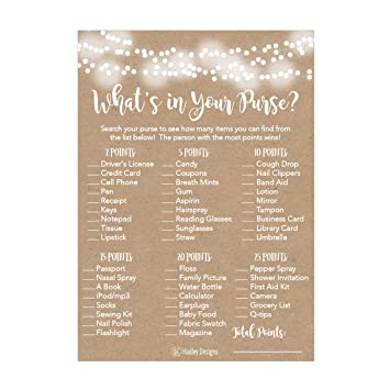 25 Rustic Whats In Your Purse Bridal Wedding Shower Or Bachelorette Party Game Item Cards Engagement Activities Ideas For Couples Funny Co Ed