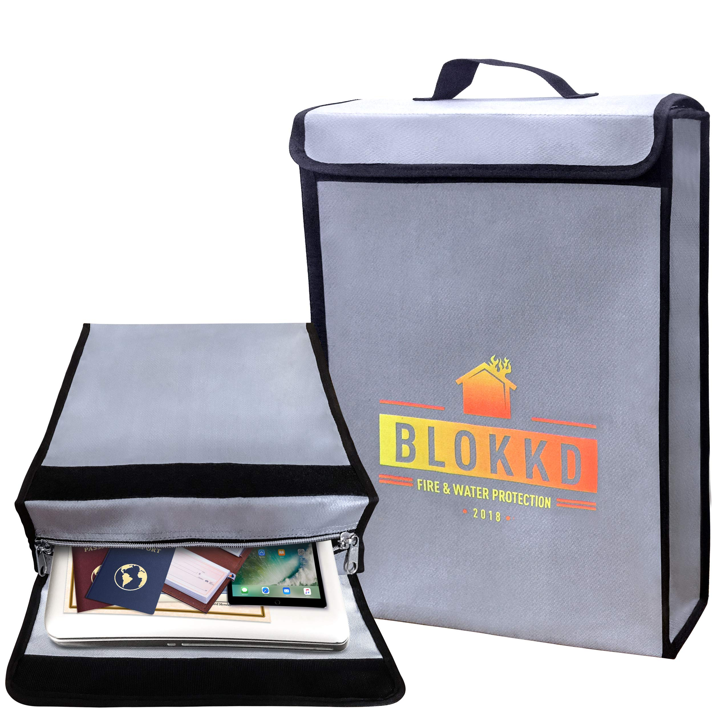 BLOKKD Fireproof Document Bag, Fire Box for Documents, Waterproof Safe, Fireproof Lock Box for Home, Papers, Money, Files, Jewelry, Valuables - 16 x 11.5 x 3 inches (Gray)