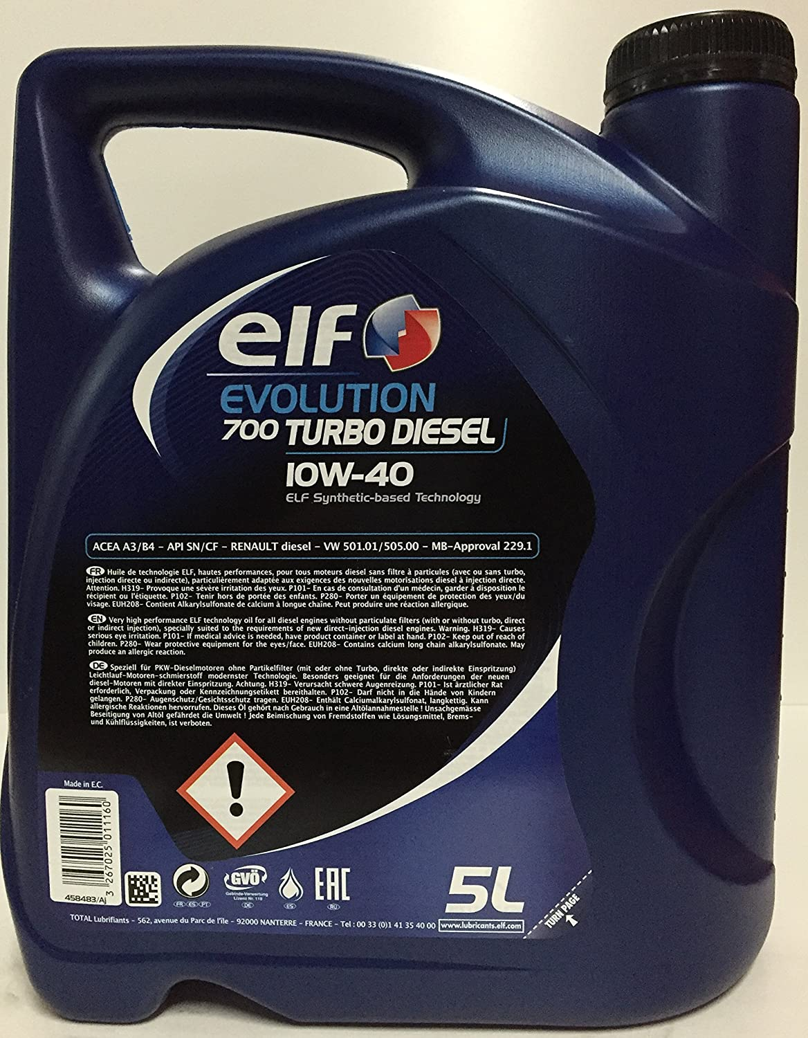 Aceite de Motor El Evolution 700 Turbo Diesel 10W40 – Botella de 1 L