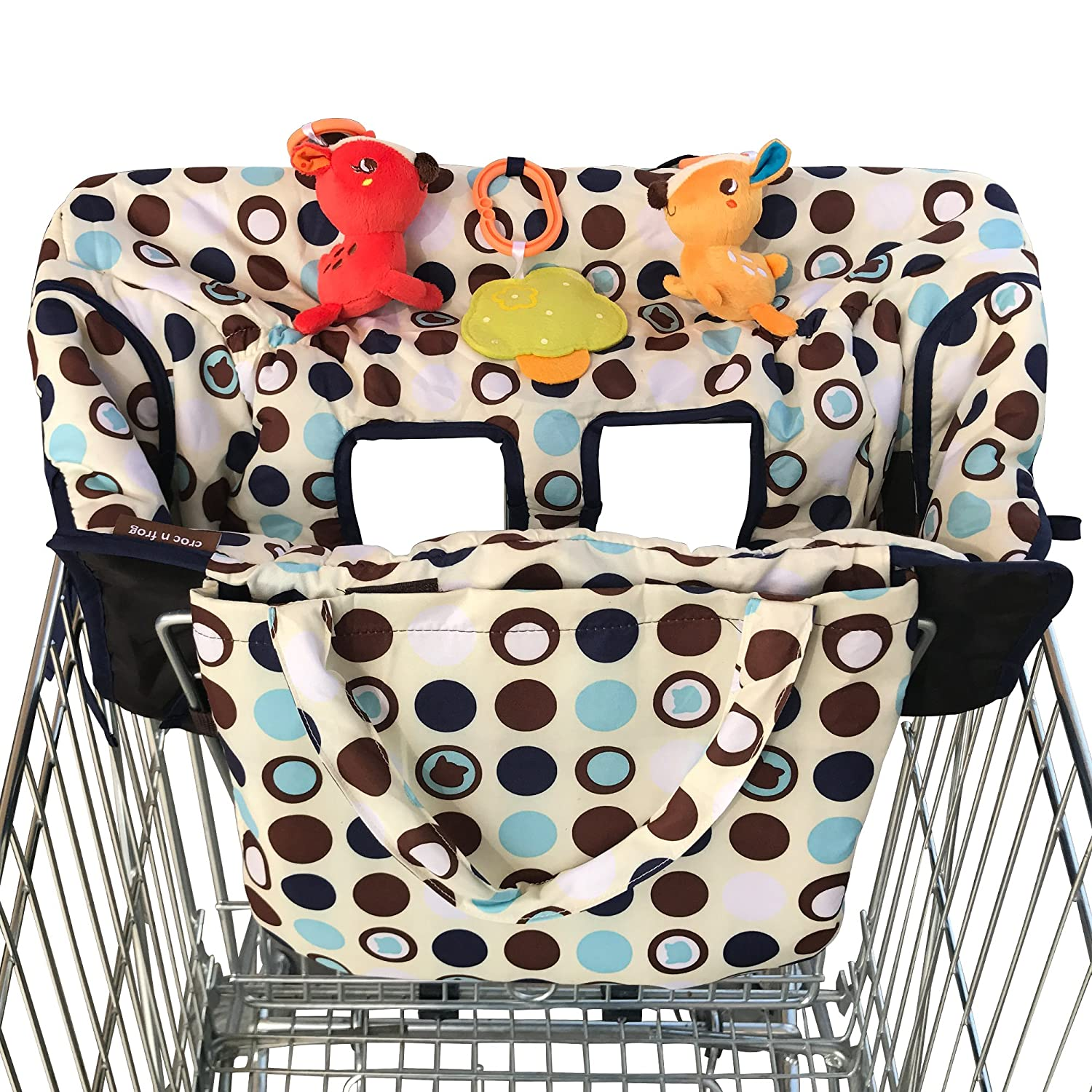 2-in-1 Croc n Frog Shopping Cart Cover and High Chair Covers for Baby Boy or Girl - Toy Loops for Babies - Cover Folded into its Pouch