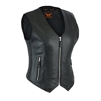 A&H Apparel Womens Bicker Classic Genuine Cowhide Leather Motorcycle Vest side Stretch Panel Gun Pocket Vest (X-Small): Automotive